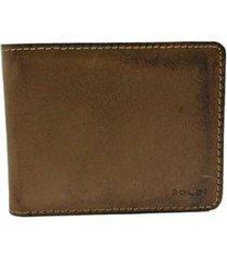carteira 3oldi couro lisa porta moeda casual masculina