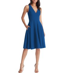 women's dress the population catalina fit & flare cocktail dress, size x-large - blue