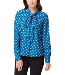tahari asl dot-print tie-neck button-up blouse