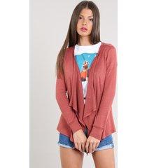 capa feminina básica em tricô rosa escuro