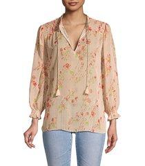 paige women's indira floral blouse - afterglow multi - size xs