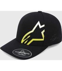 gorra negro-amarillo-blanco alpinestars