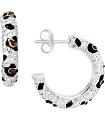 essentials multi-crystal animal print hoop earrings in gold-plate
