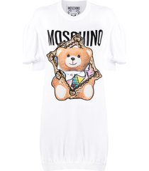 moschino frame teddy-print knitted dress - white