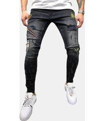 men's cotton cotton patchwork ricamato jeans denim pantaloni per uomo