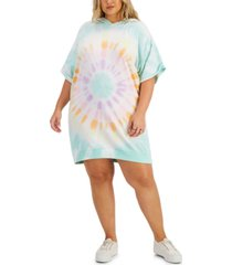 full circle trends trendy plus size tie-dyed hoodie dress