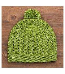 hand-knit hat, 'avocado style' (peru)