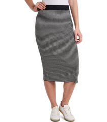 vince camuto striped pull-on midi skirt