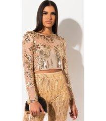 akira golden life sequin beaded blouse
