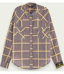 scotch & soda geruit western overhemd met lange mouwen van een katoenmix