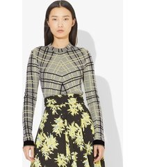 proenza schouler drapey plaid knit top black/faded neon yellow xs