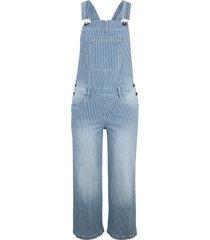 3/4-jeanshängselbyxor, vida, randiga