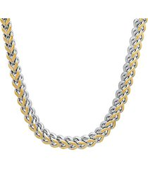 18k goldplated & stainless steel two-tone wheat link necklace