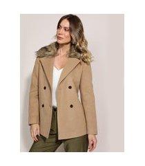 casaco trench coat feminino transpassado gola com pelo bege