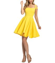 women's mac duggal cold shoulder cocktail dress, size 12 - yellow