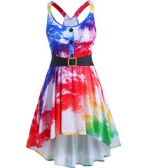 tie dye mock buttons high low plus size dress