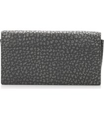 bottega veneta leather bifold wallet black, silver sz: