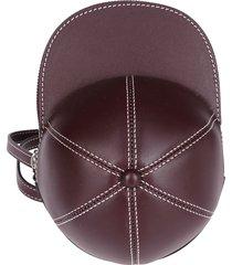 j.w. anderson bordeaux leather cap crossbody bag