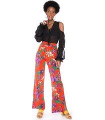 amaro feminino calça de seda estampada, floral tropicos