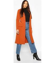 utility pocket tie waist trench coat, rust