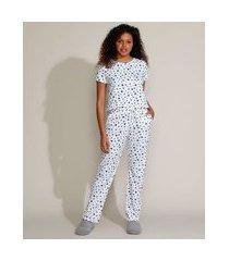pijama feminino estampado de estrelas manga curta branco