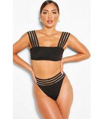 mesh detail bandeau bikini top, black