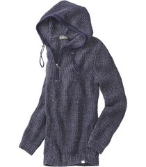 grof gebreide pullover met capuchon en zipper, nachtblauw-melange xxl