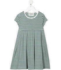 touriste horizontal-stripe pleated dress - green