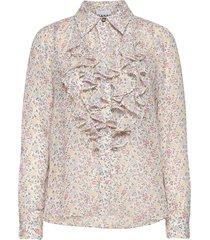 printed georgette blouse lange mouwen roze ganni