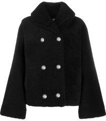 balmain fluffy double-breasted coat - black