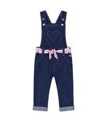 jardineira coração faixa jeans infanti m azul