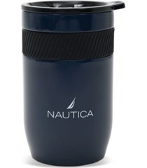 nautica berth double wall tumbler with silicone grip and screw top slide lid, 12 oz