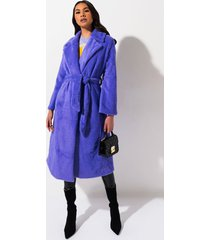 akira stay warm belted faux fur duster