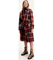 tommy hilfiger women's icon wool check mac coat red patchwork check - 0