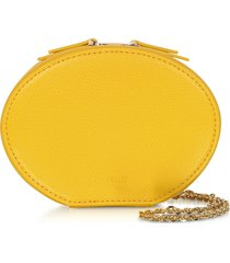 cafuné designer handbags, dandelion yellow leather egg chain shoulder bag