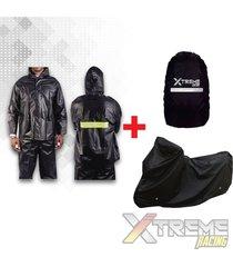 impermeable + pijama para moto + forro maleta