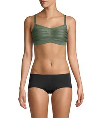 le mystere women's perforated sports bra - deep sea blue - size 34 b