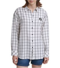 karl lagerfeld paris emoji patch grid blouse