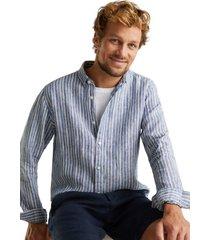 camisa de rayas 100% lino azul marino esprit