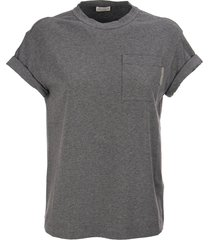 brunello cucinelli stretch cotton jersey t-shirt with shiny tab