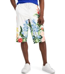 """inc international concepts men's regular-fit tropical floral-print ponte-knit 16"""" drawstring shorts, created for macy's"""