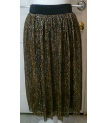 ladies metallic silver & gold striped flowing party skirt - m or l - new