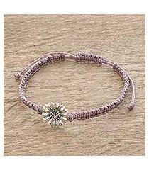 sterling silver pendant bracelet, 'mauve gerbera' (guatemala)