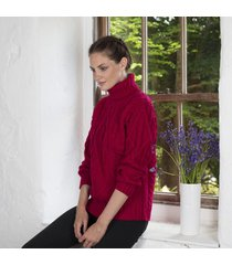 celtic aran turtle neck sweater red large