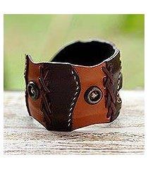 leather cuff bracelet, 'chestnut buttons' (thailand)