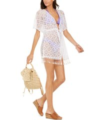 miken solid crochet fringe bottom tie-front kimono cover-up, created for macy's women's swimsuit