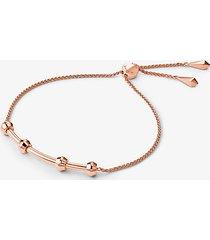 mk bracciale base con cursore in argento sterling con placcatura in metallo prezioso - oro rosa (oro rosa) - michael kors
