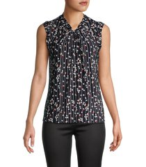 tommy hilfiger women's floral-print sleeveless blouse - midnight scarlet - size s