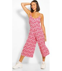 floral cami culotte jumpsuit, red