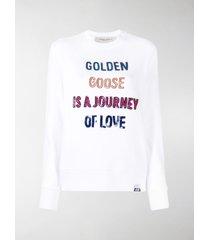 golden goose sequinned slogan sweatshirt
